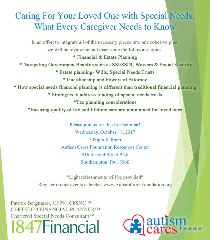 Seminar: Caring for a loved one with Special Needs; What every caregiver needs to know @ Autism Cares Foundation | Seattle | Washington | United States
