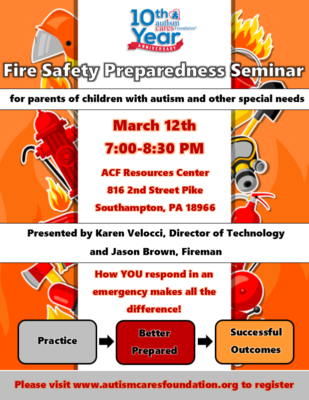 Fire Safety Preparedness Seminar @ Autism Cares Foundation Resources Center | Southampton | Pennsylvania | United States