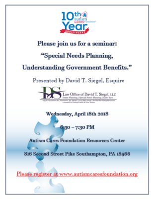 "Seminar Series: ""Special Needs Planning, Understanding Government Benefits."" @ Autism Cares Foundation Resources Center 