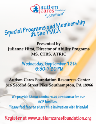 Seminar: Special Programs and Membership at the YMCA @ Autism Cares Foundation- Resources Center | Southampton | Pennsylvania | United States