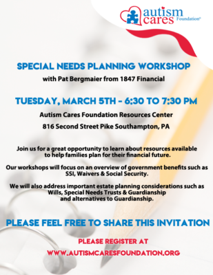 Special Needs Planning Workshop @ Autism Cares Foundation Resources Center